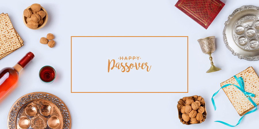 Jewish Holiday Passover Banner Design With Wine, Matzo And Seder